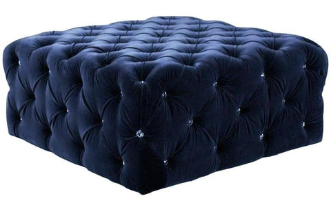 Zoe - Swarovski Crystals Tufted Ottoman, Chesterfield Coffee Table-Benches & Ottomans-Belle Fierté