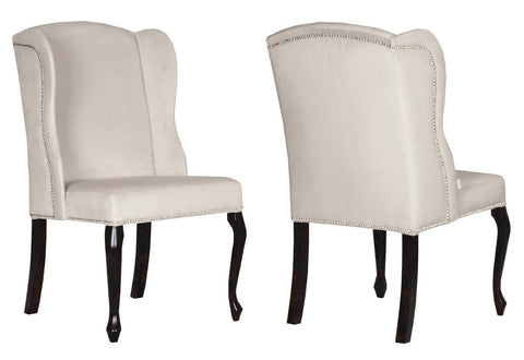 Padva - Beige Velvet Traditional Wingback Dining Chair, Set of 2-Chair-Belle Fierté