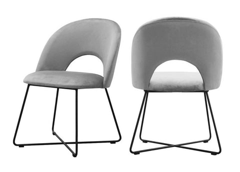 Palma - Grey Velvet Metal Base Dining Chair, Set of 2-Chair Set-Belle Fierté
