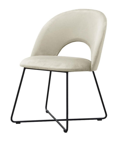 Palma - Modern Metal Base Velvet Dining Chair-Chair-Belle Fierté