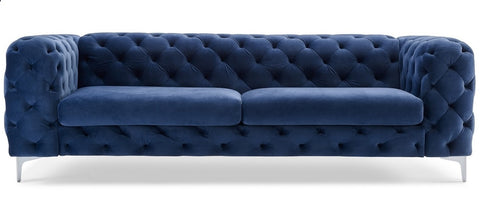Paria - Navy Blue Contemporary Chesterfield 3 Seater Velvet Sofa-Sofa-Belle Fierté