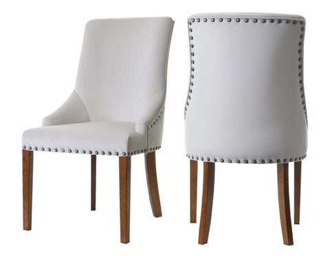 Pippa - Cream Velvet Nailhead Dining Chair, Set of 2-Chair Set-Belle Fierté