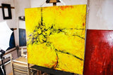 "Handmade Acrylic Canvas Abstract Painting, 80x80cm - ""Yellow""-Wall art-Belle Fierté"
