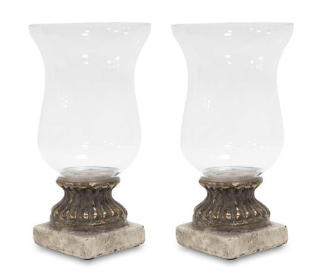 Clara - Pair of Glass Candle Holders, Chic Home Decoration-Christmas Decorations-Belle Fierté