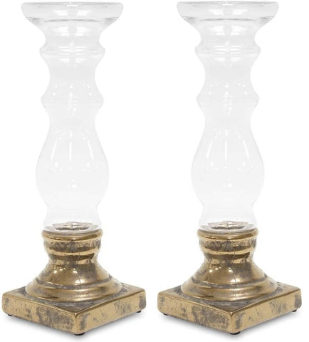 Gusto - Pair of Glass Candle Holders, Chic Home Decoration-Christmas Decorations-Belle Fierté