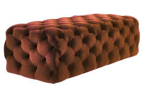Rachel - Burnt Orange Tufted Velvet Ottoman, Upholstered Bench-Ottomans and Footstools-Belle Fierté