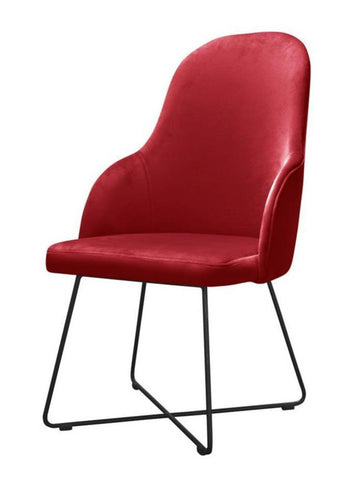 Ellie - Velvet Dining Chair, Crossed Leg Metal Base Chair-Chair-Belle Fierté