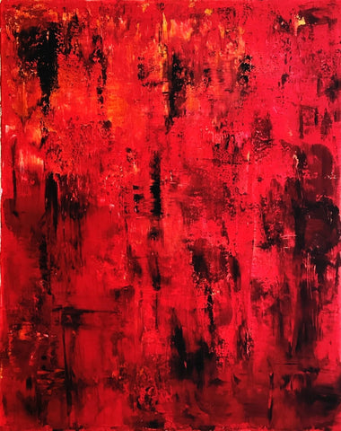 "Abstract Canvas Painting, Handmade Acrylic Painting- ""Red""-Wall art-Belle Fierté"