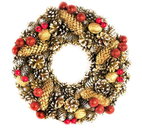 Door Wreath - Gold and Red Christmas Home Door Decoration-Christmas Decorations-Belle Fierté