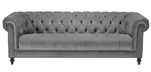 Romford - Grey Velvet 3 Seater Chesterfield Sofa-Sofa-Belle Fierté