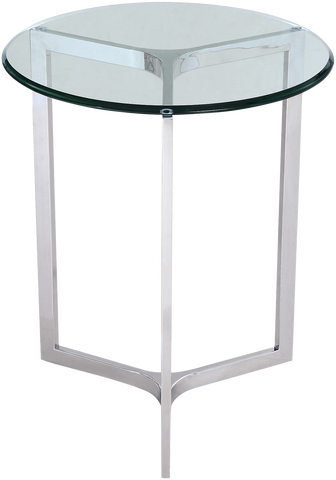 FRANCE- Luxury Glass Top Chrome Base Round Side Table-Side Tables-Belle Fierté