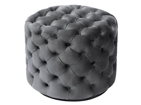 Sophia -Chesterfield Velvet Footstool, Tufted Pouf-Benches & Ottomans-Belle Fierté