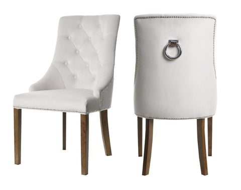 Savannah - Pearl White Chesterfield Knocker Dining Chair, Set of 2-Chair-Belle Fierté