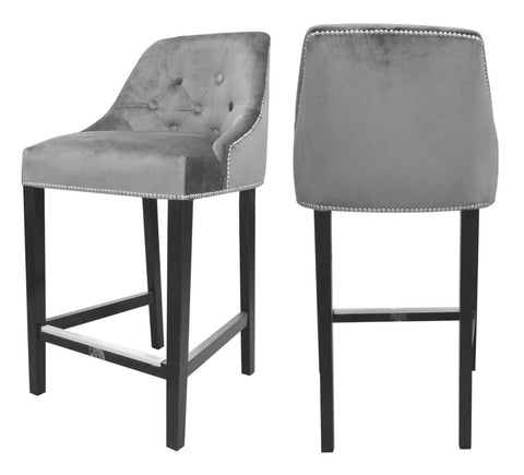 Sharon - Grey Velvet Kitchen Stool, Luxury Bar Chair, Set of 2-Bar chair-Belle Fierté