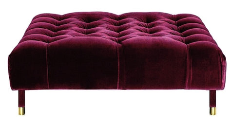 Sophie - Burgundy Velvet Cocktail Ottoman, 80cm Upholstered Coffee Table-Ottomans and Footstools-Belle Fierté