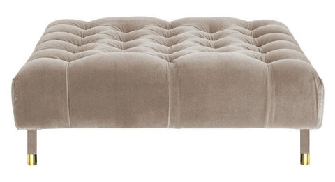 Sophie - Mink Velvet Cocktail Ottoman, 80cm Upholstered Coffee Table-Ottomans and Footstools-Belle Fierté