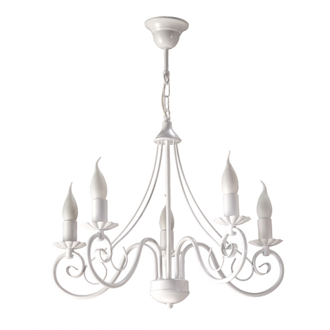 Pascal - Shabby Chic White Candle Style Chandelier-Chandelier-Belle Fierté