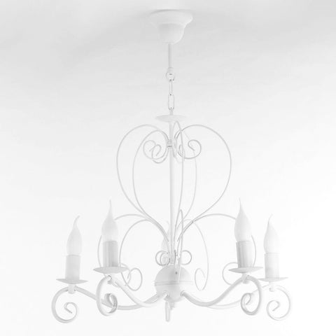 Neville - Shabby Chic White Candle Style Chandelier-Chandelier-Belle Fierté