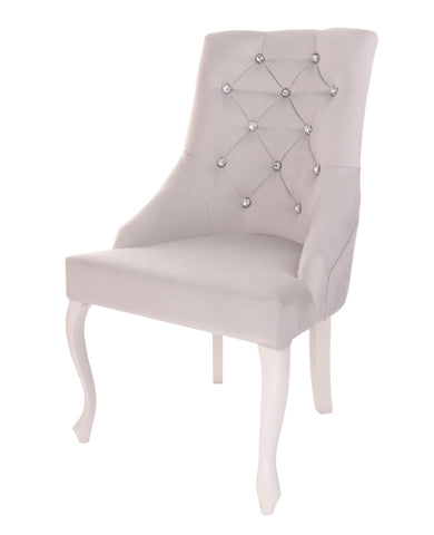 Lillian - Shabby Chic Chesterfield Velvet Dining Chair with Crystals-Chair-Belle Fierté