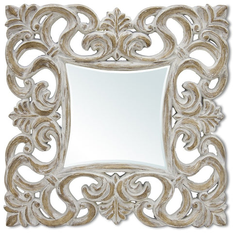Francesco - Shabby Chic Wooden Frame Mirror-Mirrors-Belle Fierté