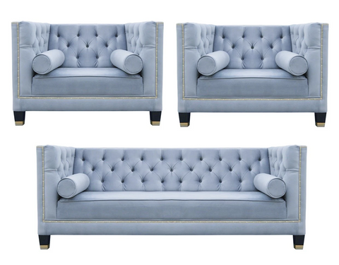 Casper - Contemporary Chesterfield Velvet Armchair Sofa Set-Sofa Set-Belle Fierté