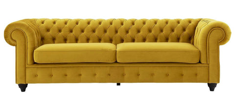 Alston - Elegant 3 Seater Curved Chesterfield Studded Velvet Sofa-Sofa-Belle Fierté