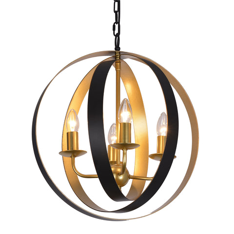 Maria- Traditional 4 Light Oval Globe Frame Ceiling Pendant Lamp-Ceiling Lamp-Belle Fierté