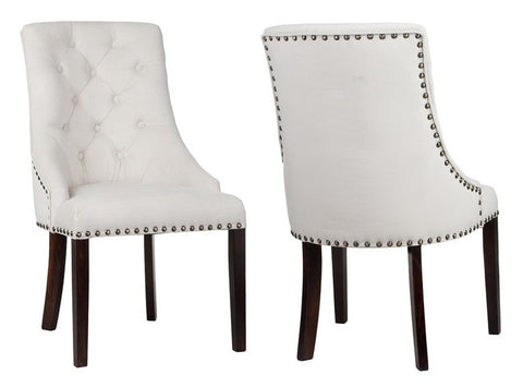 Valeria - Ivory Studded Chesterfield Dining Chair, Set of 2-Chair Set-Belle Fierté