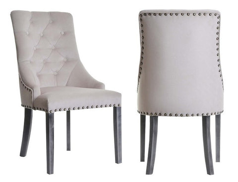 Valeria - Beige Studded Chesterfield Dining Chair, Set of 2-Chair Set-Belle Fierté