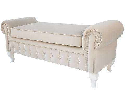 Large Velvet Ottoman, Upholstered Bench with a Storage Box-Benches & Ottomans-Belle Fierté