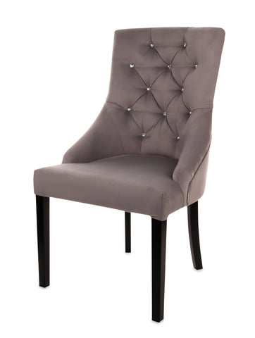 Primo - Chesterfield Velvet Dining Chair with Crystals-Chair-Belle Fierté