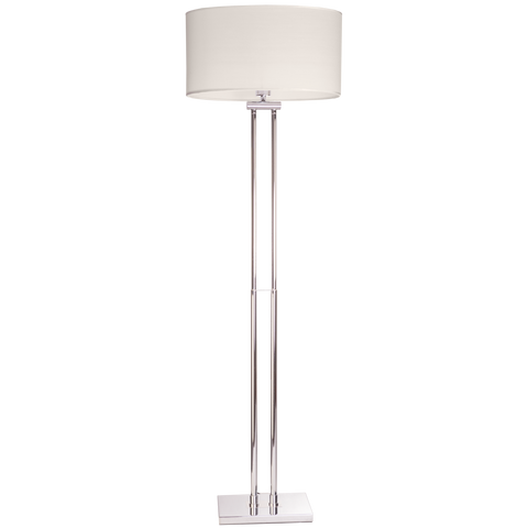 Edgar - White Shade Chrome Base Floor Standing Lamp-Floor Lamp-Belle Fierté