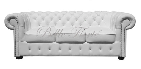 Crystal - Genuine Italian Leather 3 Seater Chesterfield Studded Sofa with Swarovski Crystals-Sofa-Belle Fierté