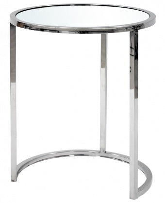 LUCINDA - Side Table, Chrome Base Mirror Top Accent Table-Bedside table-Belle Fierté