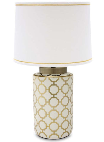 Lorenzo - Glamour White and Gold Table Lamp 63 cm-Table Lamp-Belle Fierté