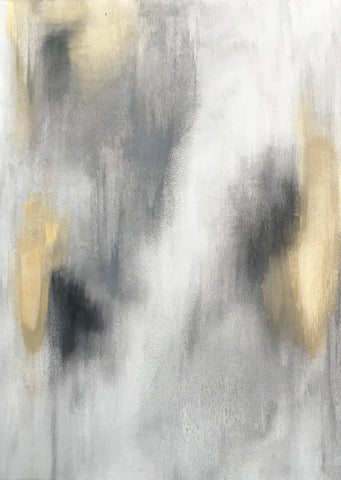 "Abstract Acrylic Canvas, Handmade Painting - ""White & Gold""-Wall art-Belle Fierté"