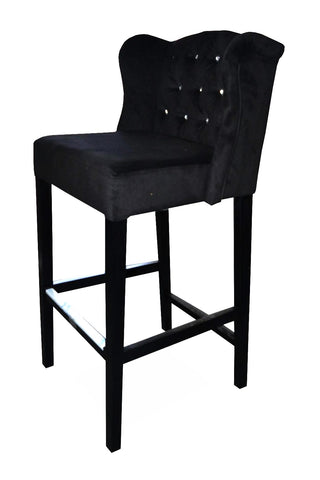 Thomas - Tufted Velvet Crystals Kitchen Stool, Wing Bar Chair-Bar chair-Belle Fierté
