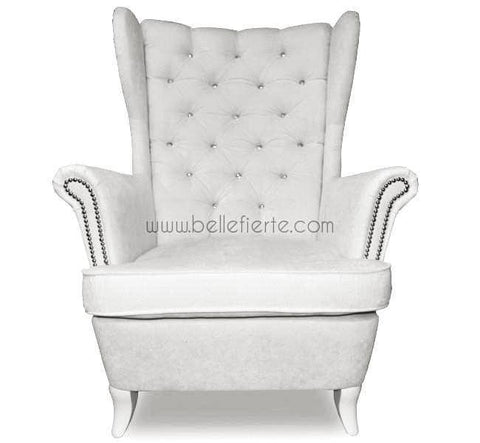Wingback White Tufted Armchair-Armchair-Belle Fierté