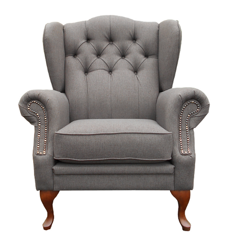 Wingback Tufted Studded Armchair-Armchair-Belle Fierté