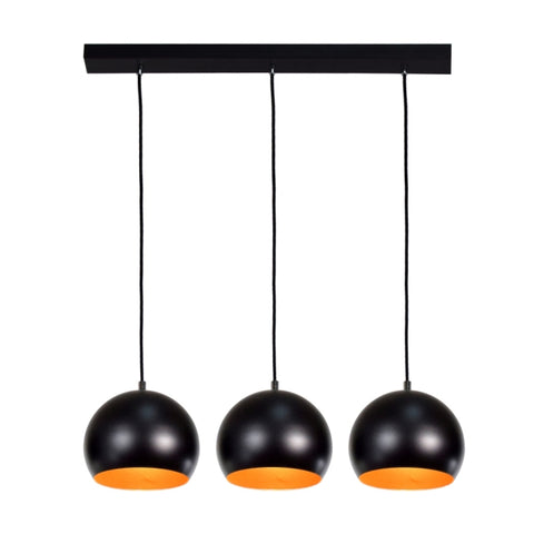 Triple Kitchen Suspension Light in Black and Gold-Ceiling Lamp-Belle Fierté