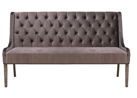 Vello - Velvet Dining Bench, Chesterfield Banquette Bench-Benches & Ottomans-Belle Fierté