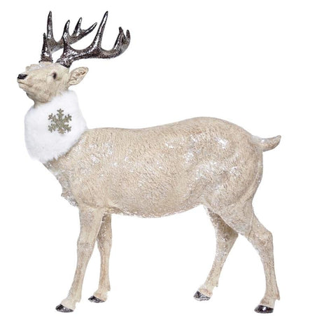Reindeer L - Gold Glitter Statue, Christmas Home Decoration-Christmas Decorations-Belle Fierté
