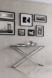 TRENTON- Luxury Glass Console Table, Chrome Base Glamour Console Table-Console table-Belle Fierté