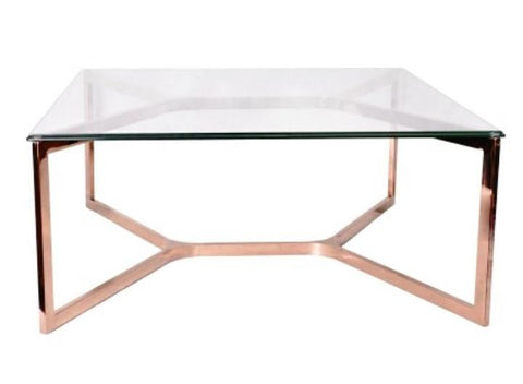 LAREDO II- Luxury Glass Coffee Table, Rose Gold Base Glamour Coffee Table-Coffee table-Belle Fierté