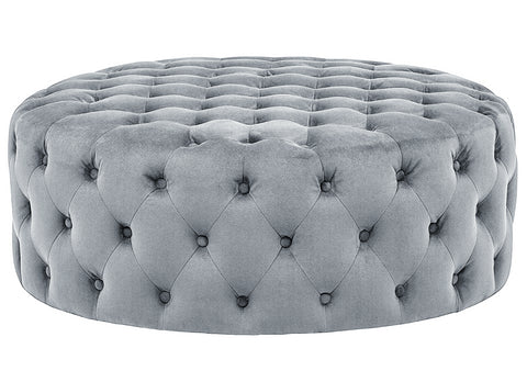 Brandon - Round Velvet Ottoman, Upholstered Coffee Table-Benches & Ottomans-Belle Fierté