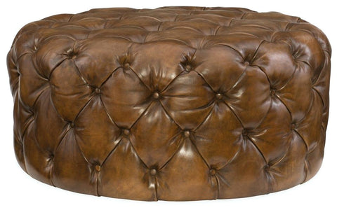 Lee - Genuine Leather Chesterfield Round Ottoman-Benches & Ottomans-Belle Fierté