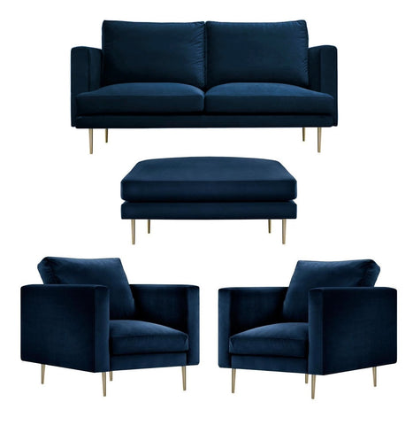 Presto - Contemporary Velvet Armchair, Ottoman and Sofa Set - Navy Blue-Sofa Set-Belle Fierté