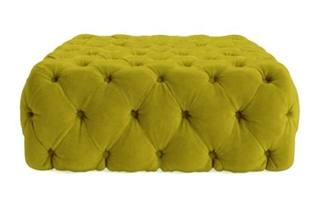 Lea - Chesterfield Velvet Ottoman, Upholstered Coffee Table-Benches & Ottomans-Belle Fierté
