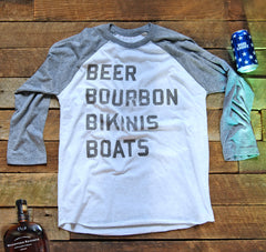 Beer Bourbon Bikinis Boats™ 3/4-Sleeve T Shirt