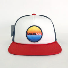 Flat Bill Trucker Hat - Red/Navy